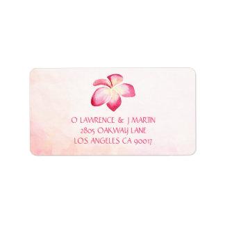 Pink Plumeria Sunset Watercolor Label