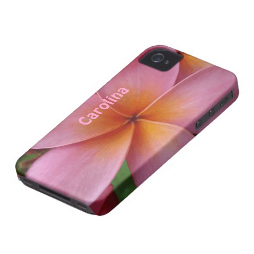 Pink Plumeria Tropical Flower Custom Name  Cover iPhone 4 Case-Mate Case