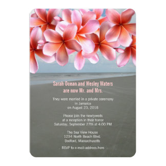 Pink Plumeria Tropical Reception Only Card