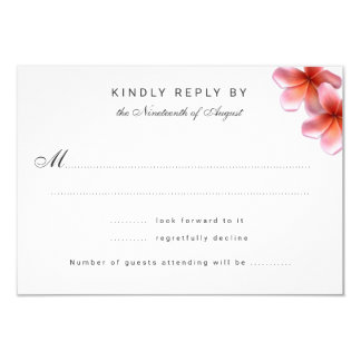Pink Plumeria Wedding Reply Cards
