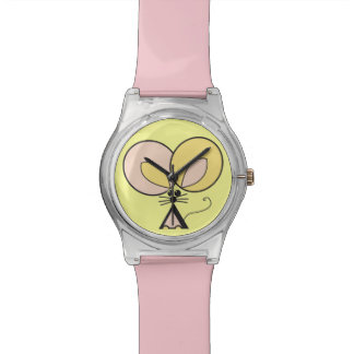 Pink Pocket Mouse, graphic illustration Wristwatches