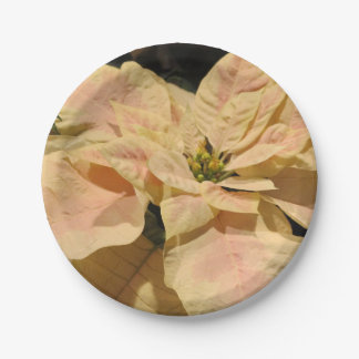 Pink Poinsettia Christmas Party Paper Plates