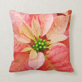 Pink Poinsettia Custom Pillow
