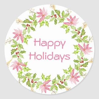 Pink Poinsettia Holiday Wreath Classic Round Sticker