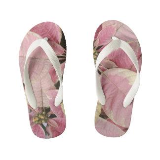 Pink Poinsettias Kid's Flip Flops