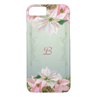 Pink Poinsettias Monogram iPhone 7 Case