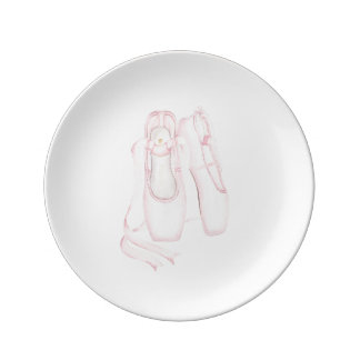 Pink Pointed Ballet Shoe Porcelain Plate