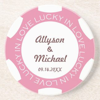 Pink poker chip lucky in love wedding anniversary drink coasters