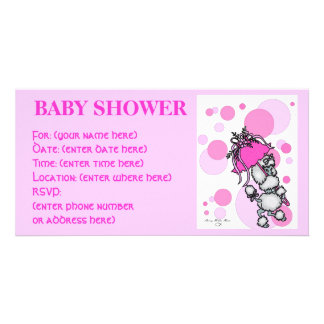 Pink Polk a Dot Poodle Baby Shower Photo Card Template