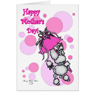 Pink Polk-a-dot Poodle Mother's Day Card