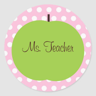 Pink Polk-a-dot Teacher Sticker