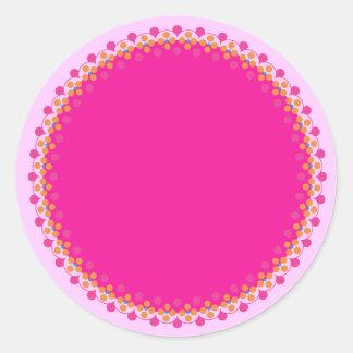Pink Polka Border Blank Template Label Round Sticker