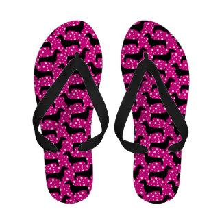 Pink Polka Dachshund Flip Flops