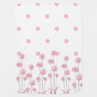 Pink Polka Dot and Wildflower Baby Blanket Nursery