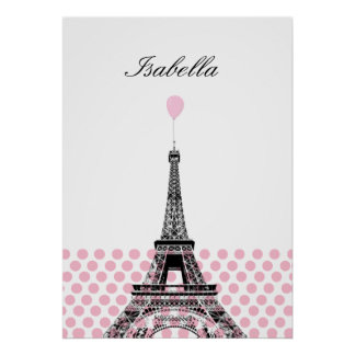 Pink Polka Dot Ballon Name Poster