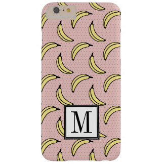 Pink Polka Dot Banana Print Initial Monogram Barely There iPhone 6 Plus Case