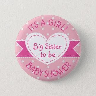Pink Polka Dot Big Sister To Be Its a Girl Pin