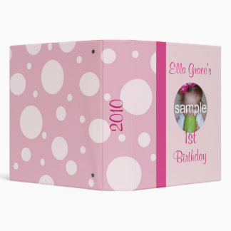 Pink Polka Dot Birthday Album 3 Ring Binders