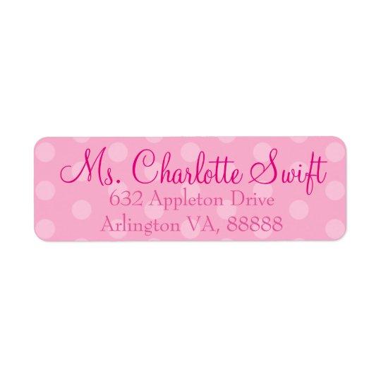 Pink Polka Dot Birthday Return Address Return Address Label