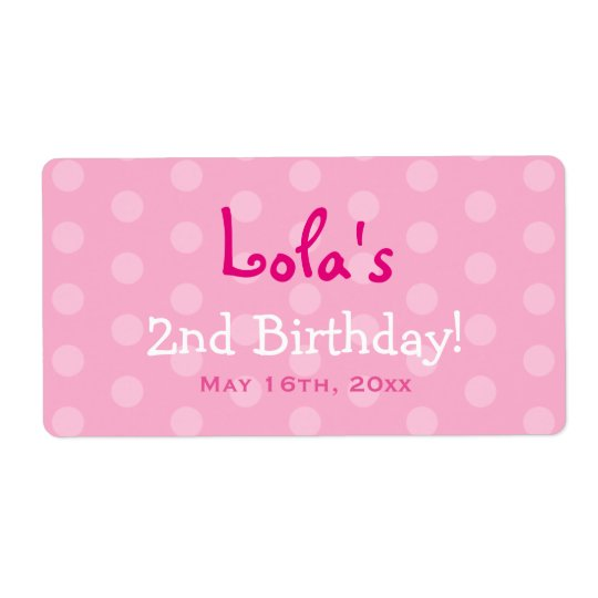 Pink Polka Dot Birthday Water Bottle Labels