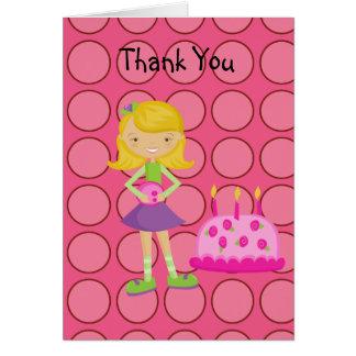 Pink, Polka Dot, Bowling Girl Thank You Card