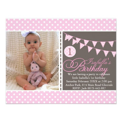 Pink Polka Dot Bunting First Birthday Invite