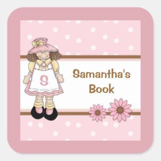 Pink Polka Dot Child's Personalized Bookplate Square Sticker