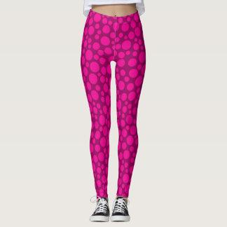 Pink polka dot circles print leggings