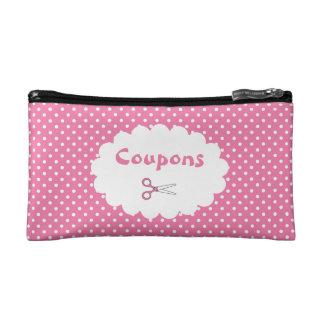 Pink Polka Dot Coupon Organizer Makeup Bag