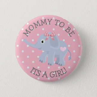 Pink Polka Dot Elephant Its a Girl Baby Shower Pin