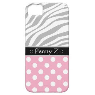 Pink Polka Dot Faded Zebra Print iPhone 5 Case