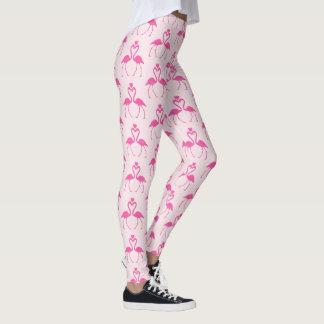 Pink Polka Dot Flamingo Valentine's Day Leggings