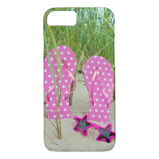 pink polka dot flip-flops with sunglasses iPhone 7 case