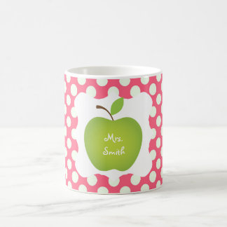 Pink Polka Dot Green Apple Teacher's Coffee Mug