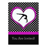 "Pink Polka-Dot Gymnastics with heart 5"" X 7"" Invitation Card"