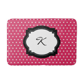 Pink Polka Dot Initial Bath Mat