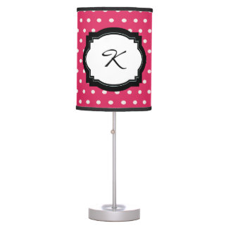 Pink Polka Dot Initial Table Lamp