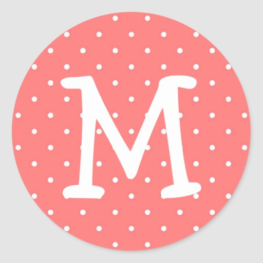 Pink polka dot kiddo monogram letter custom round stickers
