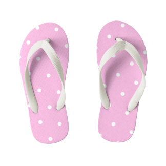 Pink Polka Dot Kids Flip Flops