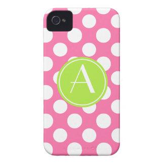 Pink Polka Dot Lime Circle Monogram iPhone 4 Case-Mate Cases