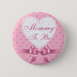 Pink Polka Dot Mommy to be Baby Shower Button