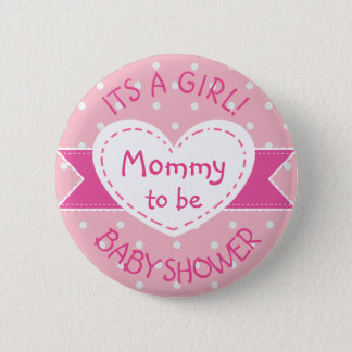 Pink Polka Dot Mommy To Be Its a Girl Pin