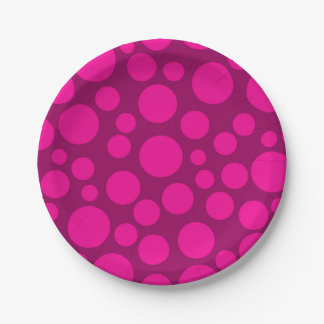 Pink polka dot paper plate