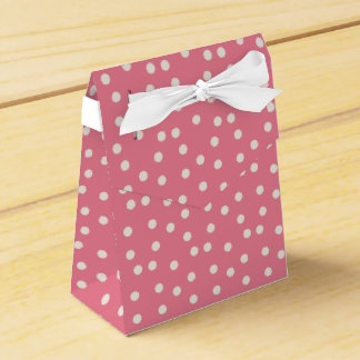 Pink polka dot party favor box with bow