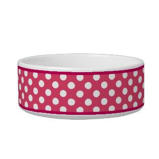 Pink Polka Dot Pattern Small Ceramic Dog Bowl
