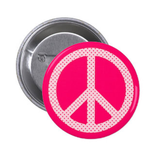 Pink Polka Dot Peace 2 Inch Round Button