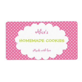 Pink Polka Dot Personalized Homemade Cookies
