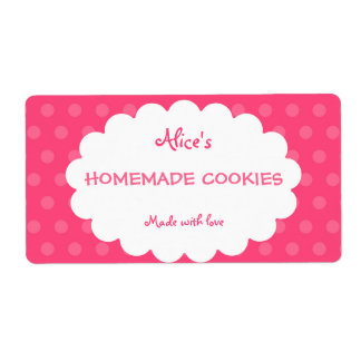 Pink Polka Dot Personalized Homemade Cookies Shipping Label