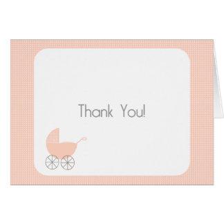 Pink Polka Dot Pram Thank You Card