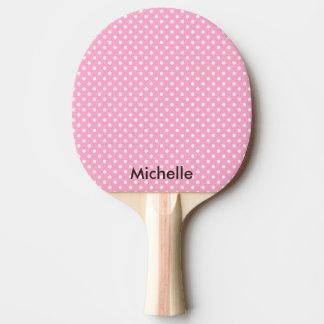Pink polka dot table tennis ping pong paddle